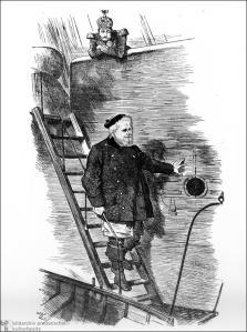"""Der Lotse geht von Bord""""Karikatur aus dem Londoner """"Punch"""" vom 2. September 1890 zur Entlassung Bismarcks durch Wilhelm II."""