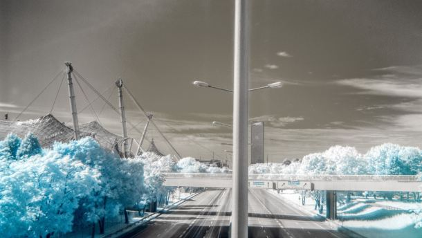 Munich in Infrared - City bare of people and cars.