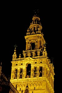 The Giralda of the Cathedral in Seville, Spain. It was originally built as a minaret during the Moorish period
