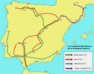 Routes taken by Tariq and Musa for the conquest of the Peninsula.png
